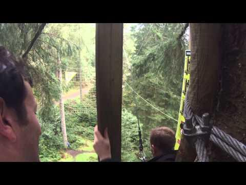 Friend Scared On Tarzan Swing At GoApe Aberfoyle Scotland GoPro