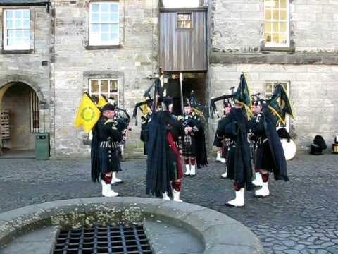 Militarty Bagpipers In Stirling Castle Scotland