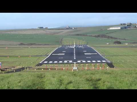 What A Spectacular Landing!! Flybe SAAB 340 Landing At Kirkwall Airport, Orkney
