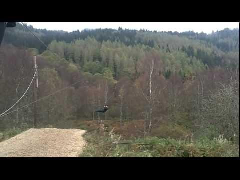 GO Ape Aberfoyle Biggest Zip Line In The UK POV [HD)
