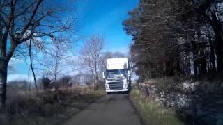 Meeting A Big Truck While Driving On Single Track Road In Scotland