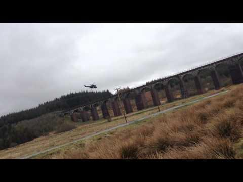 Helicopter At Big Water Of Fleet Viaduct - Gatehouse Of Fleet April 2014