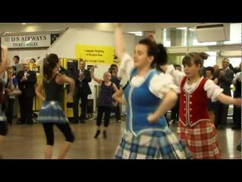 Glasgow Airport Highland Dancing Flash Mob By SOHDA Celebrating Best Of Scotland Event