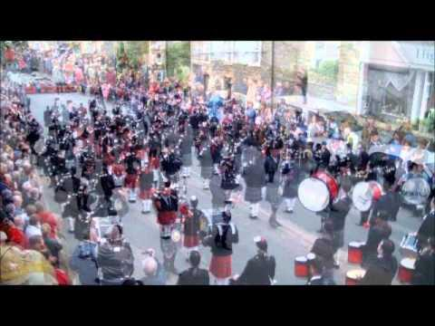 Massed Pipe Bands Parade In Thurso - July 13, 2013