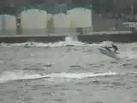 Wave Jumping Jetski In Harbour Wick Caithness Part 12