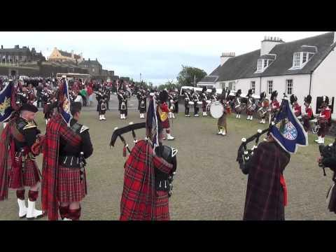 The Pipes & Drums Practice On Stirling Castle Esplanade - Armed Forces Day 2014