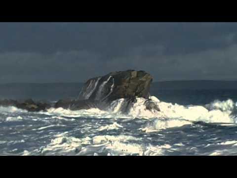 Sea Crashing Over Rocks At Burravoe Yell Shetland