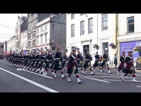 The Highlanders Royal Regiment Of Scotland Homecoming Parade Through Aberdeen Sept 2017 - 4K
