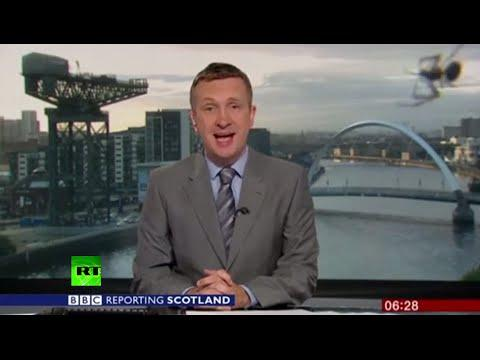 Web Cam? Spider Photobombs BBC Scotland Live Broadcast